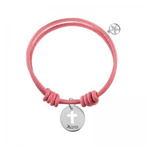 pulsera-de-cuero-rosa-nudo-corredizo-medalla-plata-con-nombre