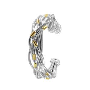 Pulsera nudo cruzado plata y oro